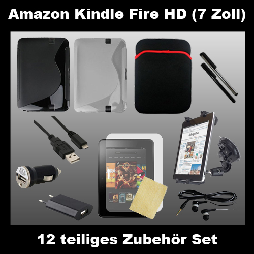12 teiliges Amazon Kindle Fire HD [7 Zoll] Zubehör Set