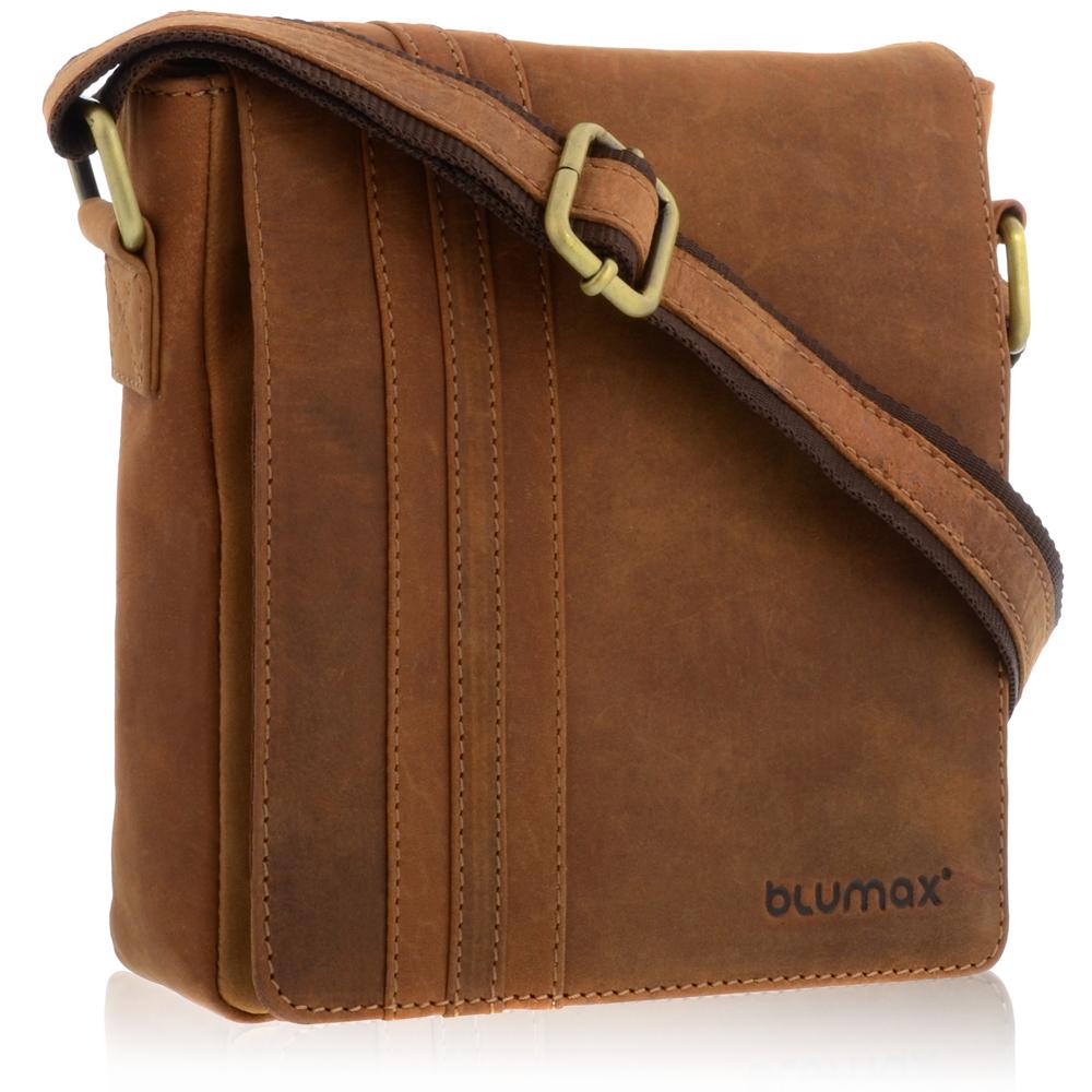 BLUMAX Echt Leder Umhängetasche Schultertasche Messenger Bag 1714