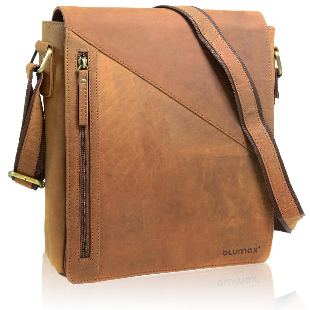 BLUMAX Echt Leder Umhängetasche Schultertasche Notebooktasche 1834