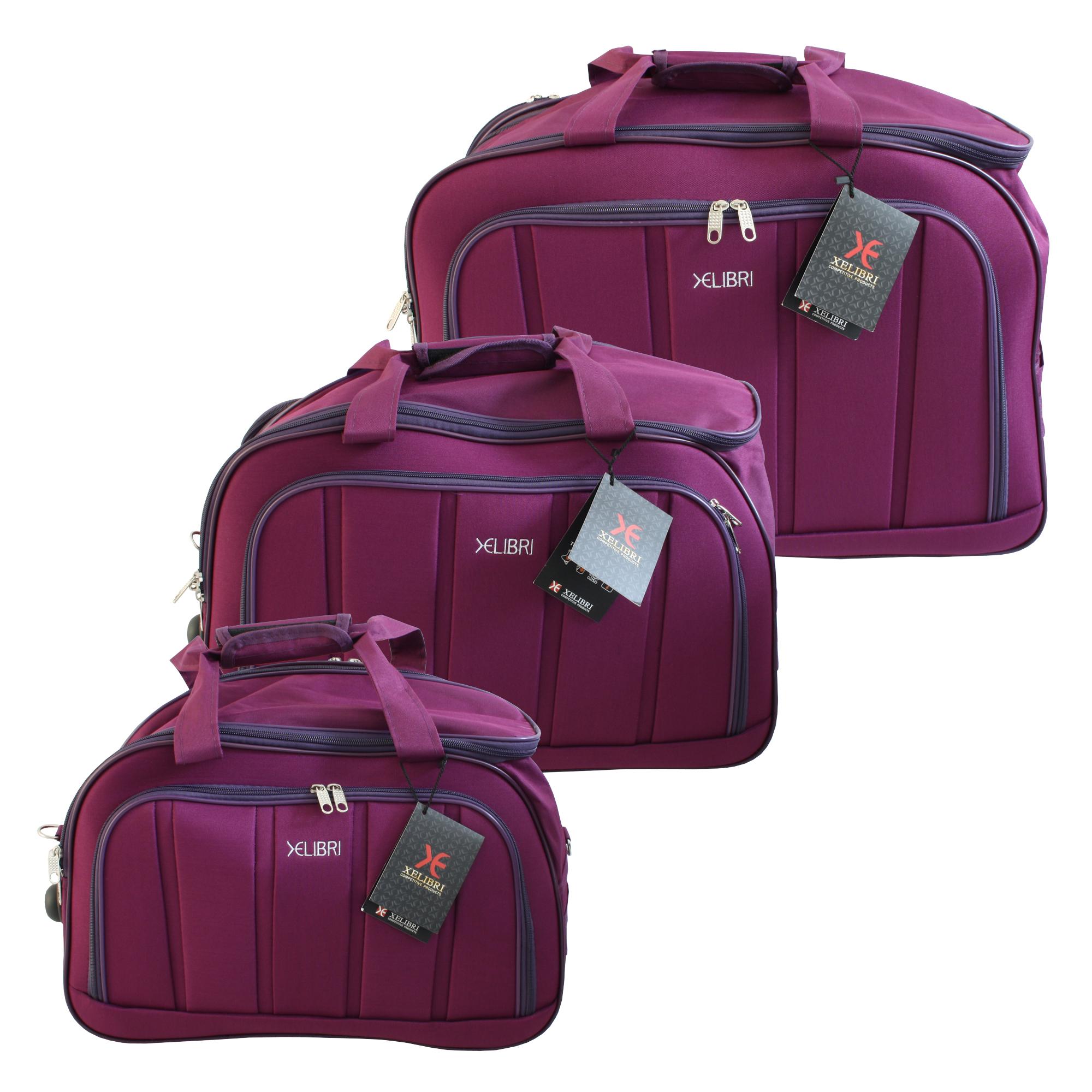 3 tlg. XELIBRI Reisentasche Sporttasche mit Rollen | Lila