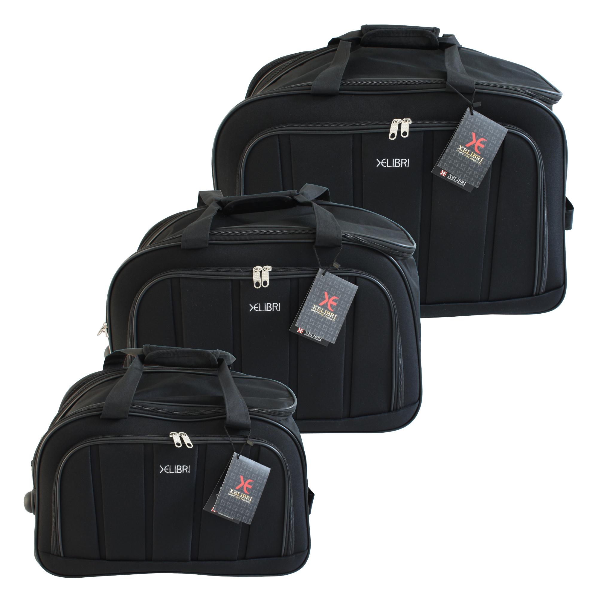 3 tlg. XELIBRI Reisentasche Sporttasche mit Rollen | Schwarz