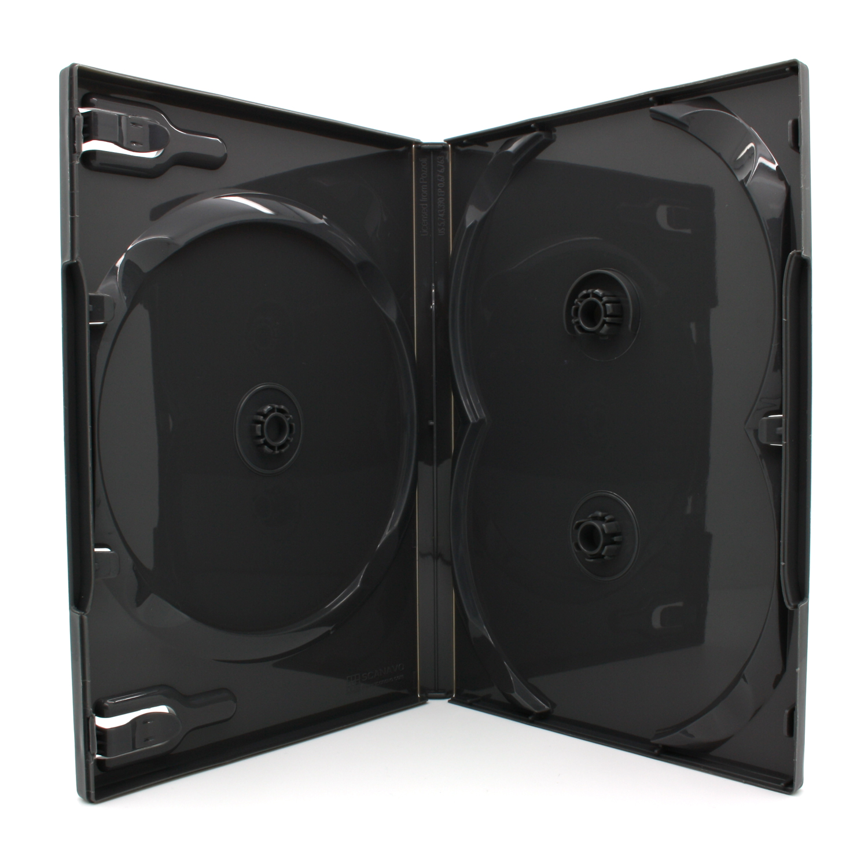 100 x SCANAVO DVD Hüllen für 3 CD / DVD / Blu-Ray [14mm] Doppelseitig Schwarz