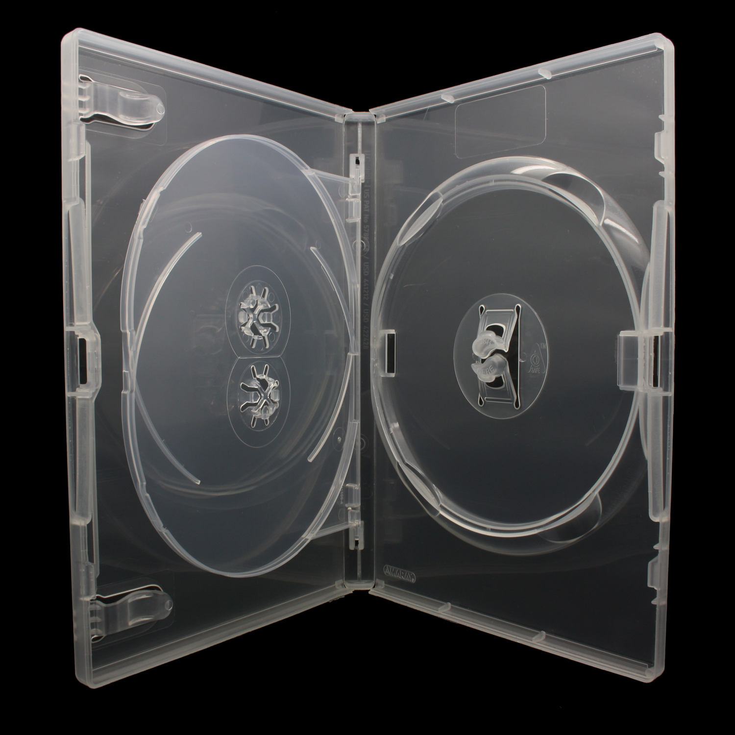 100 x AMARAY DVD Hüllen mit Tray für 3 CD / DVD / Blu-Ray [14mm] Transparent